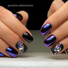 – Art of Amour Shiny Nails, Purple Nails, Colorful Nail Designs, Nail Art Designs, Gorgeous Nails, Pretty Nails, Black Chrome Nails, Color Block Nails, Chrome Nails Designs