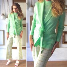 """Fans of 70s knits, rejoice! This is a  three piece set, which includes a mint high neck knit tank with zipper closure at back of neck, a matching mint belted cardigan, and coordinating plaid knit pants featuring mint, tan, and ivory/white.    Great vintage condition, like it was never worn! Get your Charlie's Angels pose on!    Dimensions:  Shoulders - 16""""  Sleeve length - 23""""  Bust - 34""""  Waist - 30""""  -----------  Waist - 28""""  Hips - 36""""  Inseam - 29""""    Free ground shipping in US!   Shop…"""
