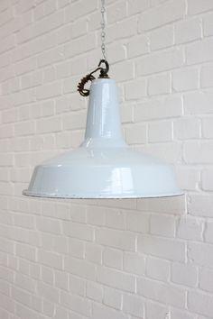 Large Vintage Industrial Factory Pendant by Ottosnongeneralstore Vintage Industrial Lighting, Decorative Bells, Ceiling Lights, Unique Jewelry, Pendant, Baby Blue, Enamel, Etsy, Home Decor