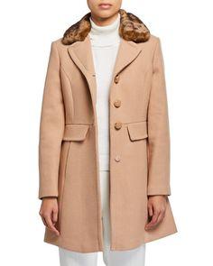 kate spade new york single-breasted coat with leopard faux-fur collar Faux Fur Collar, Fur Collars, Winter Coats, Last Call, Jack Frost, Black Handbags, Wool Coat, Single Breasted, Hosiery