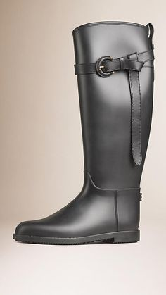 Black Belted Equestrian Rain Boots - Image 1