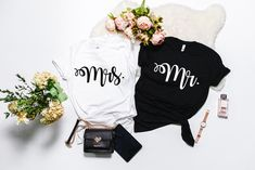 Mr & Mrs Tee (SET OF 2)  , Graphic T-Shirt, Couples Tees, Graphic Tee's, Mr and Mrs Graphic T-Shirts, Couples Graphic T-Shirts