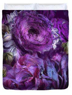 Peonies In Purples 2 decorator duvet cover featuring the art of Carol Cavalaris.