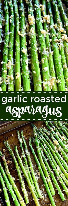 Garlic Roasted Asparagus is packed with the delicious flavors of garlic and parmesan and is ready in 15 minutes or less! The perfect side dish for any meal.if you love garlic, this Garlic Roasted Asparagus is sure to become a favorite! Side Dish Recipes, Vegetable Recipes, Vegetarian Recipes, Cooking Recipes, Dinner Recipes, Epicure Recipes, Healthy Recipes, Dinner Dishes, Veggie Food