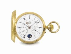 Attributed to Marius LeCoultre. A rare and unusual 18K gold hunter case perpetual calendar chronograph keyless lever watch with moon phases and retrograde date. Circa 1890 #ChristiesWatches