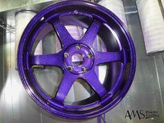 Powder coated wheel in purple w/ flake