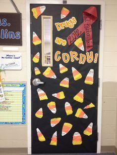 Red ribbon week classroom door. by sigulya