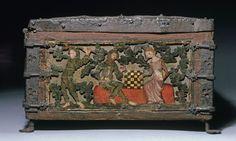 Minnekästchen Schachspiel   (1351 - 1375)   Niederrhein  Un homme et une femme jouant aux échecs   Voir détail
