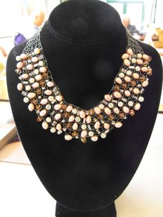pearl and wire knit necklace