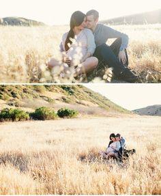 Maternity photo in fields
