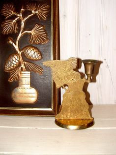Vintage Stamped Brass Angel Candlestick by lookonmytreasures