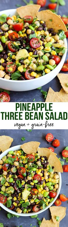 A few simple ingredients & 5 minutes are all you need for this vegan Pineapple Three Bean Salad! Serve with chips to make it the perfect healthy party dish.