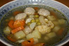 recept főétel melegétel leves zöldség gombóc
