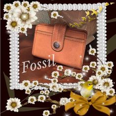 Fossil Tri-Fold Wallet Well taken care of, Tan leather  Fossil tri-fold wallet.  Zippered outer coin pocket.  Snap front closure.  Interior is fun floral pattern with lots of pockets and CC slots.  Interior looks new, but outer shows some light discoloration from wear. Fossil Bags Wallets