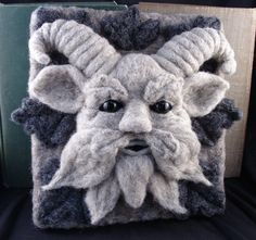 Needle Felted One of a kind Gargoyle or Green Man by McBrideHouse, $145.00