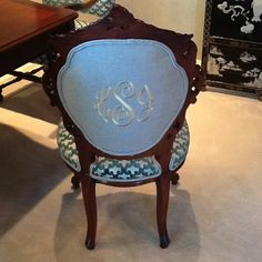 Dining Room Monogramed Chair, Antique Rococo Chairs
