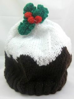 This Christmas knitting pattern shows you how to knit a Christmas plum pudding beanie, fit for a child.