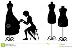 Dress Mannequin Clip Art Silhouette with Pearls Flower Embroidery Designs, Hand Embroidery Stitches, Sewing Kids Clothes, Sewing For Kids, Sewing Art, Love Sewing, Sewing Machine Drawing, Etiquette Vintage, Become A Fashion Designer