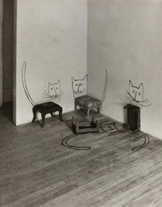 "Schöne Inspirationsquelle im Designprozess ""out of the box"" zu denken Saul Steinberg Untitled [Four Cats], Silbergelatineabzug, × cm; The Saul Steinberg Foundation, New York © The Saul Steinberg Foundation / VG Bild-Kunst 2013 Museum Ludwig Köln, Crazy Cat Lady, Crazy Cats, Saul Steinberg, Saul Leiter, Grafiti, Illustration Art, Illustrations, Art Plastique"