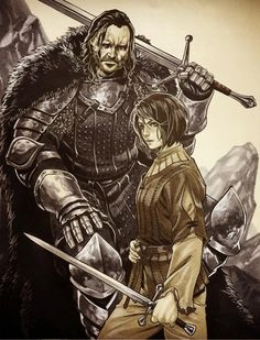 Game of Thrones - Arya and The Hound by Mark Brooks *