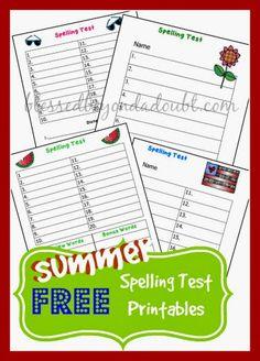 Budget Friendly Homeschooling: Free Summer Days Spelling Test Printables
