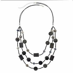 Black Mixed Media 3-Row Necklace - jcpenney