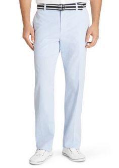Izod Men's Sandy Bay Belted Seersucker Straight Fit Pants - Cream De Menthe - 32 X 30