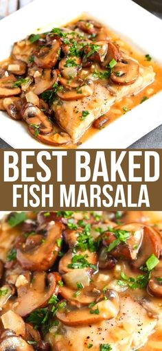 Tender white fish fillets are baked and smothered in a Marsala wine mushroom sauce for a healthy, delicious baked halibut recipe. 315 calories and 4 Weight Watchers SP | Oven | Healthy | Easy | Recipes | Italian #bakedfish #bakedhalibut #halibutrecipes #wwrecipes #smartpoints Ww Recipes, Light Recipes, Side Dish Recipes, Italian Recipes, Dinner Recipes, Weeknight Recipes, Dinner Ideas, Halibut Recipes, Seafood Recipes