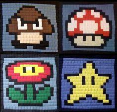 pixel art crochet granny squares mario nintendo geek
