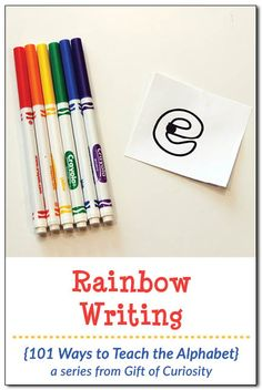 Rainbow writing with a free letter outlines printable is a great way to help kids learn their letters and practice proper letter formation. What a fun idea for kids who are learning letters. I love how it combines art with teaching the alphabet. Preschool Literacy, In Kindergarten, Preschool Plans, Emergent Literacy, Rainbow Activities, Science Activities For Kids, Motor Activities, Alphabet Crafts, Alphabet Activities