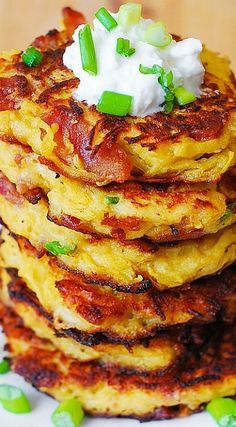 Bacon, Spaghetti Squash, and Parmesan Fritters. So unbelievably good! Kids love these - what a great way to incorporate veggies! Serve with a dollop of Greek yogurt | JuliasAlbum.com | #gluten_free #snacks #appetizers