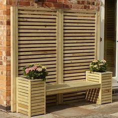 Outdoor Seating Areas, Garden Seating, Outdoor Spaces, Outdoor Living, Wooden Planters, Wooden Garden, Back Gardens, Outdoor Gardens, Planter Liners