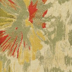 """Content: 100% Polyester        Width: 58""""     Vertical Repeat: 45 1/2""""                           Horizontal Repeat: 29 1/2""""     Cleaning: Dry Cleaning Recommended        Description:This is a green, yellow, red and tan floral jacquard upholstery fabric.Suitable for upholstery fabric, decorative pillows, heavy drapery fabric or bedding fabric. Please order a minimum 1 yard cut, this will make a beautiful decorative pillow. Unfortunatelysamples are not available for this ..."""