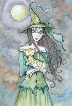 Beautiful Halloween Witch holding her cute yellow tabby kitty cat Witch Pictures, Art Pictures, Fantasy Wizard, Fantasy Art, Witch Tattoo, Beautiful Witch, Elves And Fairies, Halloween Art, Halloween Witches