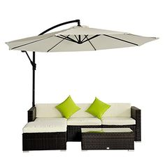 Outsunny Rattan Wicker Conservatory Aluminium Outdoor Garden Patio Furniture Corner Sofa Set without Parasol - Brown