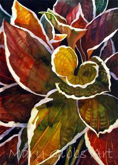 """Hosta IV"". © Mary Gibbs (http://marygibbsart.com/index.html). #Leaf #Leaves"