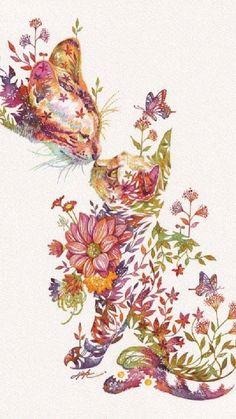 Cute Illustration, Botanical Illustration, Watercolor Animals, Watercolour, Web Design, Illustrations, Japanese Artists, Animal Paintings, Cat Art