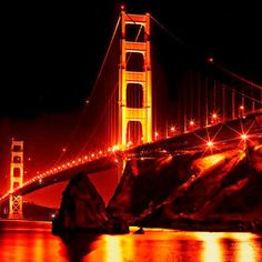 Bridge at Cavallo. Golden Gate Bridge taken at night from Cavallo Point on the Sausalito side of the bay. San Francisco At Night, Dream Sans, California Dreamin', Golden Gate Bridge, Places Ive Been, Bucket, Spaces, Pictures, Travel