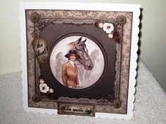 Vintage Horses 8x8 Card Front Kit 2 on Craftsuprint designed by Maria Christina Vieira  - made by Wayne  Swan - I printed the design on to a Glossy photo paper. I clipped the items out. I glued the main design on to a 8 by 8 Scalloped card using Double sided tape. I attached the Decoupage/3D and Sentiment on using Sticky pads. A quick and easy Stunning and Beautiful design with an Amazing colours!!!! It turned in to a Gorgeous card that is Amazing and I LOVE it!!!!! I really Recommend this…