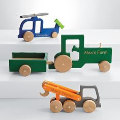recycled wood transportation toy