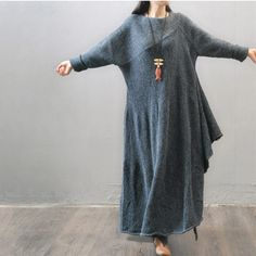 """this sweater dress made of30% wool, 70% acrylic loose style clothing one size Length: 77 -128cm/ 30.31-30.59 """"Shoulder Sleeve : 70 cm/ 27.56 """"Bust: 140 cm/ 55"""