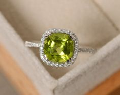 Peridot engagement ring pear cut sterling silver