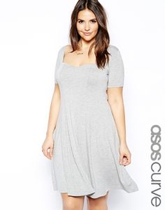 ASOS CURVE Skater Dress With Sweetheart Neck And Short Sleeve