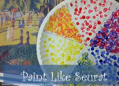 Art lesson and tutorial on teaching children to paint like Seurat. Covers color and color wheel, pointillism, and art appreciation. Free George Seurat notebook page.