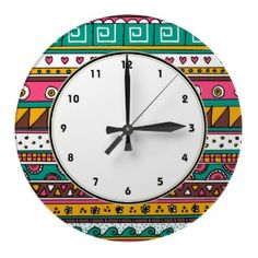 Pink & Turquoise Tribal pattern clock