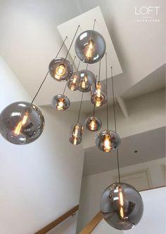 Modern Staircase bulbs lamptecho lighting loftinterieurs project in 2020 Stair Lighting, Foyer Lighting, Interior Lighting, Lighting Design, Stairwell Chandelier, Ceiling Light Fixtures, Ceiling Lights, Standard Lamps, Ideias Diy