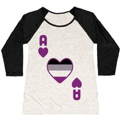 Ace Of Hearts Our baseball t-shirts are made from preshrunk 100% cotton and a heathered tri-blend fabric. Original art on men's and women's baseball tees. All shirts printed in the USA. The ace of hearts is the card I'm all about. Asexual folks are all welcome in the big beautiful galaxy of queerness, shining brightly like stars by which we can navigate. But why keep that ace up your sleeve? When you're ready to lay your cards down on the table, rep your ace love with this cute pride design.