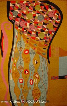 """Klimt_Mustard_Wool_Abstract-Rug. Inspired by the works of modern artist, Gustav Klimt. This motif brings to mind not only Klimt's famous """"Tree of Life"""" painting, but also Kandinsky's colorful concentric circles. A delightful depiction of abstract modern art, this design is chain stitched into a meta-motif of the soul approaching the tree of life. Since the 15th century, Kashmiri artisans have produced the finest chain stitch crewel work in the world."""