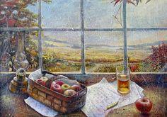 Фото осень, времена года, лето, живопись, яблоки, художники, орехи, хлеб, мёд, дары природы, спас, из сети