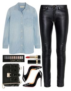 """denim + leather"" by ecem1 ❤ liked on Polyvore featuring Madewell, Yves Saint Laurent, Christian Louboutin, Valentino, Forever 21 and Dolce&Gabbana"